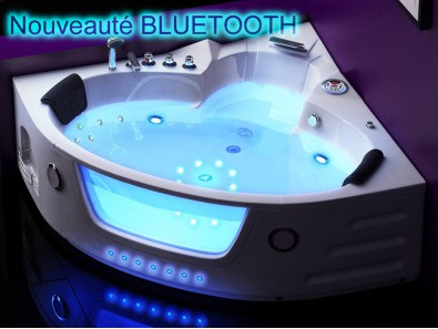 Baignoire Balneo D Angle 2 Places Super Jets Led Ueva Fr